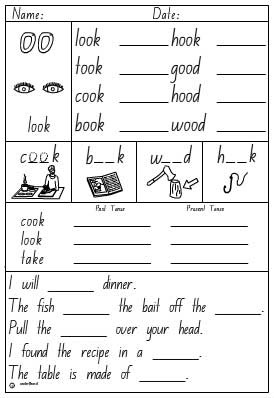 Vowel Digraph 'oo' as in look Activity Sheet