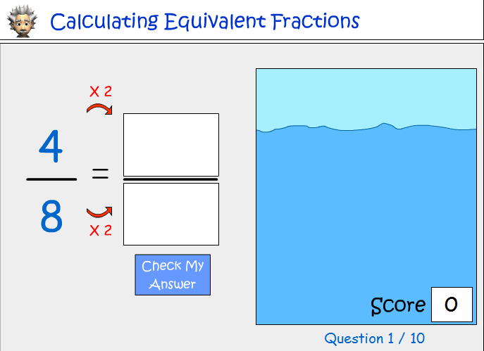 Calculating equivalent fractions