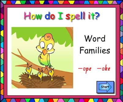 Word Families -ope and -oke