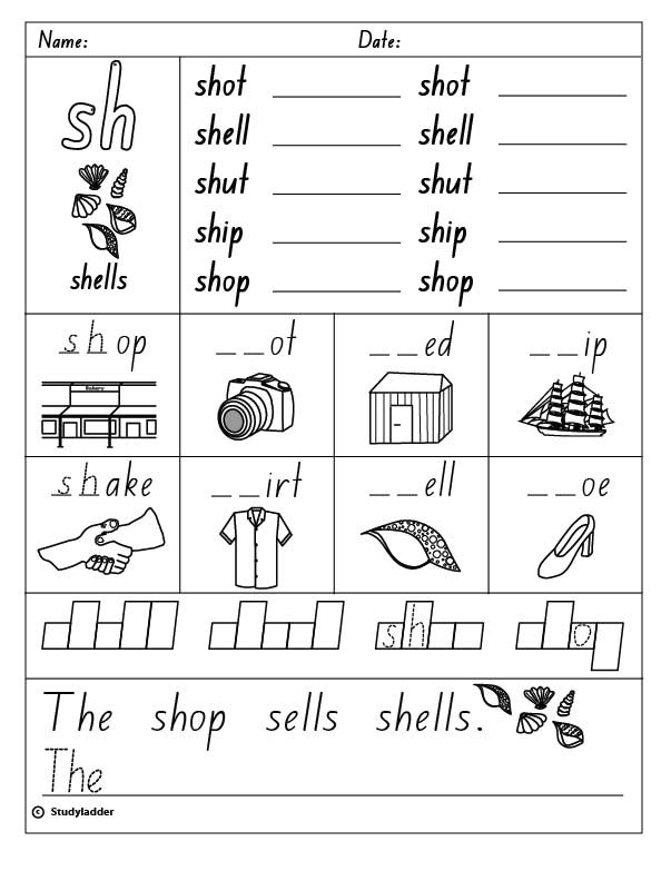 Consonant Digraph sh beginning Sound English skills online – Digraphs Worksheets