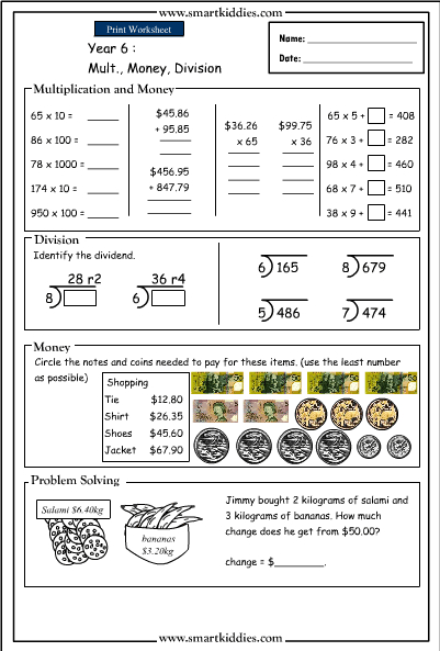 Multiplication Money And Division Mathematics Skills Online