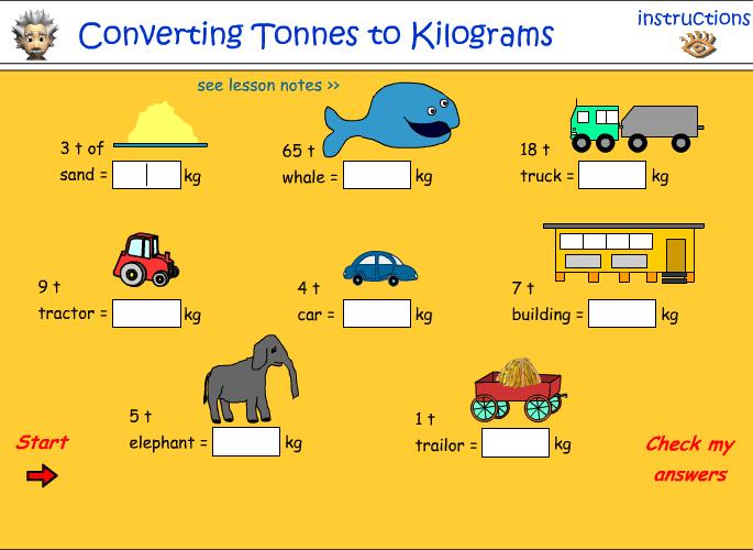 Convert tonnes to kilograms