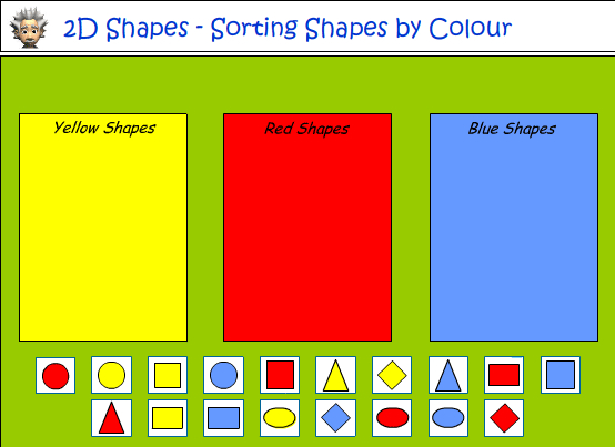 sorting shapes according to colour and shape
