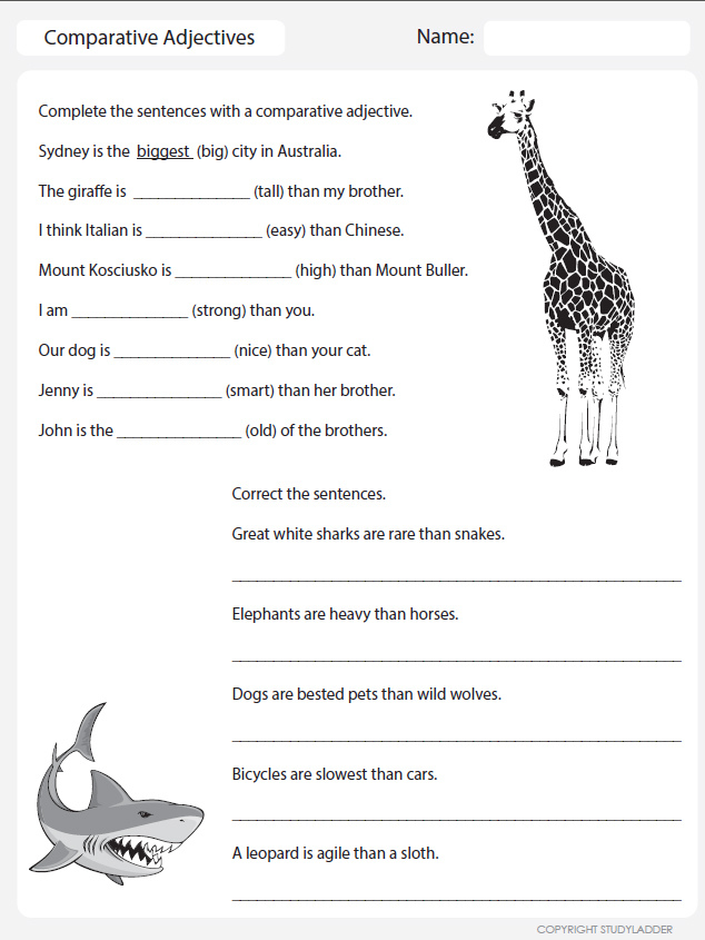 Free Worksheets w worksheets : Comparative Adjectives Worksheets Pictures to Pin on ...
