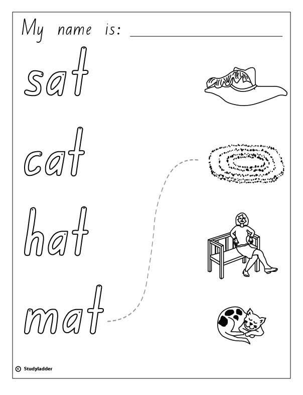 Words and Pictures: cat, sat, hat, mat, English skills online ...