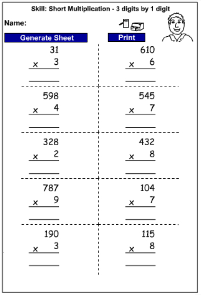 Number Names Worksheets multiplication of three digit numbers : Drill - Multiply 3 digits by 1 digit - written strategies ...
