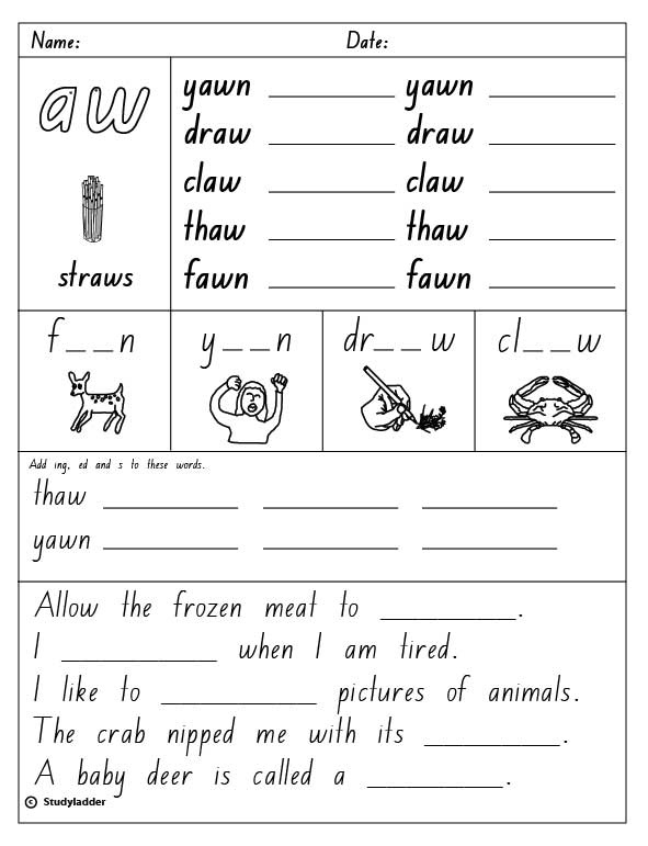 Vowel Digraph Aw English Skills Online Interactive Activity Lessons