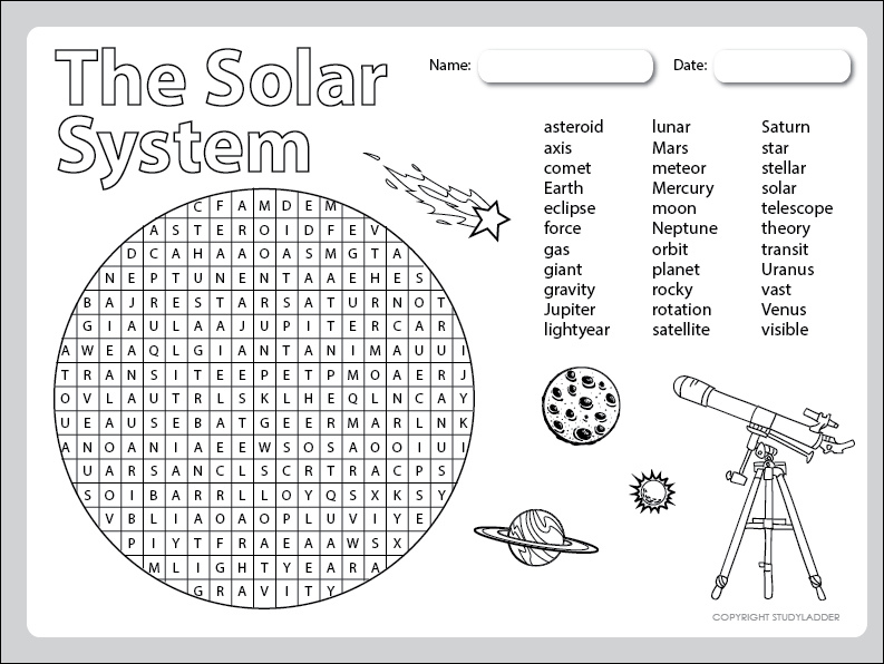 Space Theme Word Search Studyladder Interactive Learning
