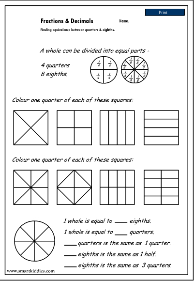 Fractions Quarters Worksheets & fractions and decimals ...