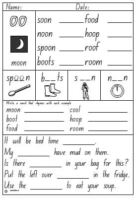 Vowel Digraphs 'oo' as in moon Activity Sheet - Studyladder