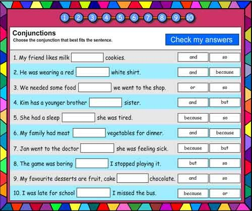 Conjunctions Vocabulary Builder
