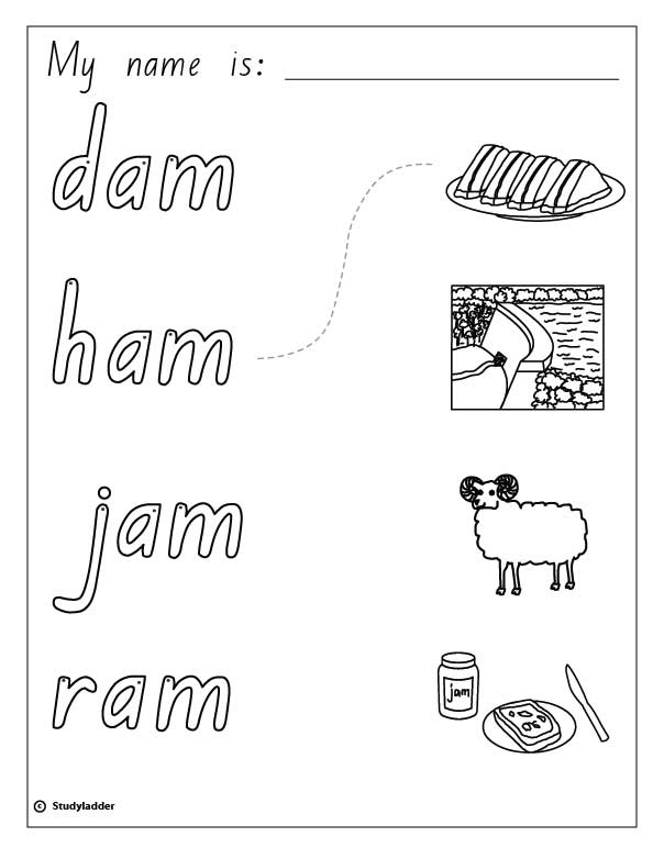 Words and Pictures: ham, jam, ram, dam, English skills online ...
