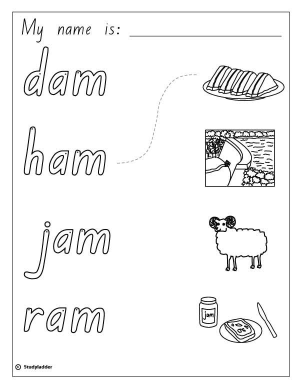 Words and Pictures: ham, jam, ram, dam, English skills online ...