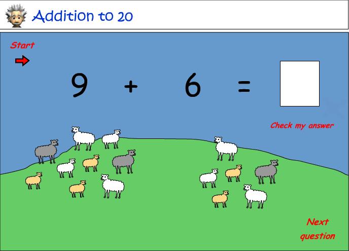 Add single digit numbers - visual cues