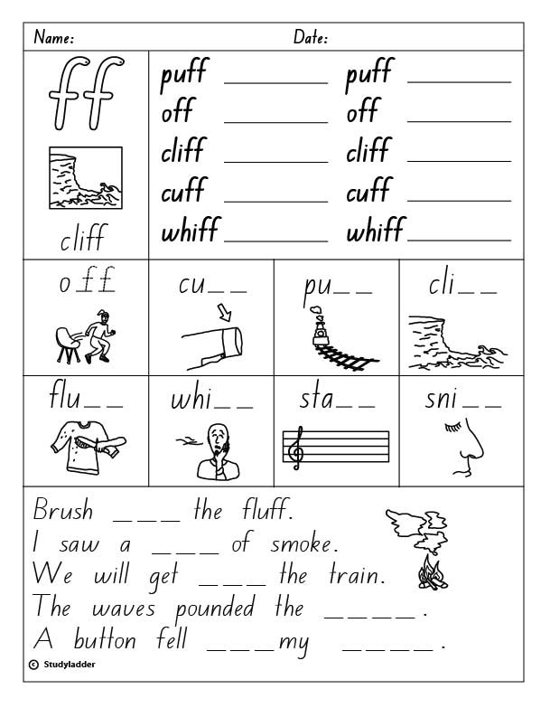 Consonant Digraph ff final sound English skills online – Consonant Digraphs Worksheets