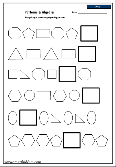 Recognizing And Continuing Repeating Patterns, Mathematics Skills Online,  Interactive Activity Lessons