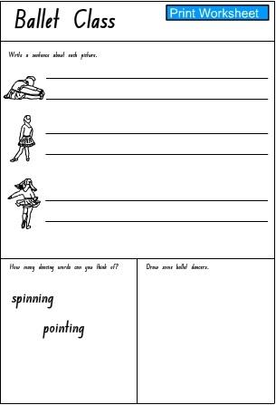 Ballet Class Response Activity Sheet 2 English Skills Online