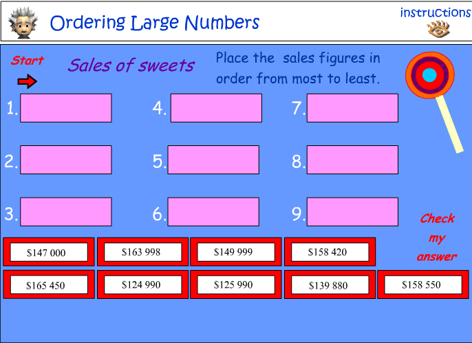 Ordering large numbers No:1