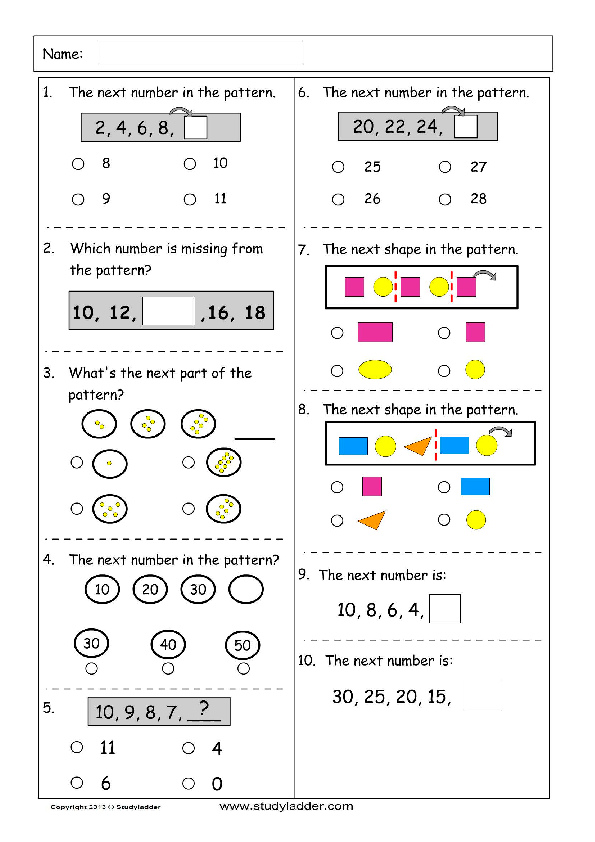 Patterns Problem Solving Mathematics Skills Online Interactive