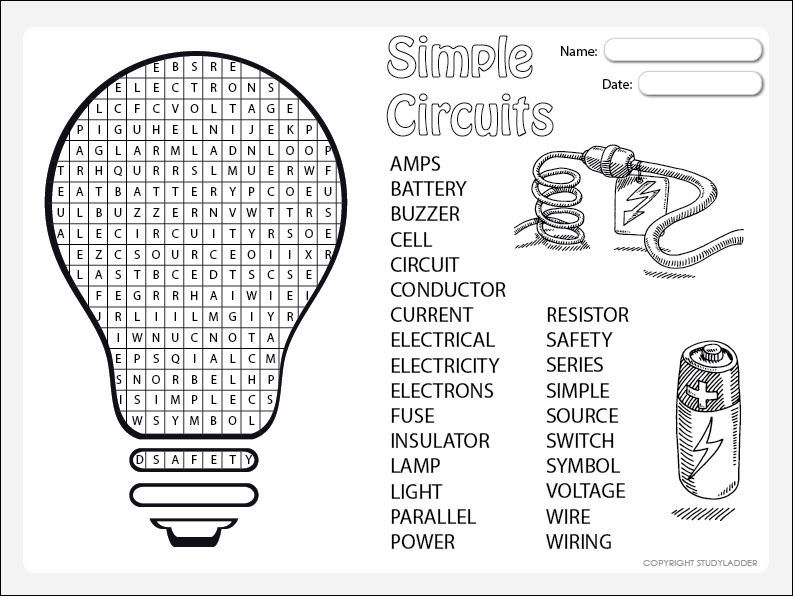 simple circuits word search  theme based learning skills