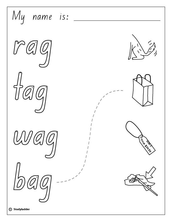 Words and Pictures: rag, tag, wag, bag, English skills online ...