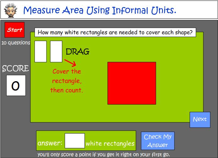 Measuring area using informal units