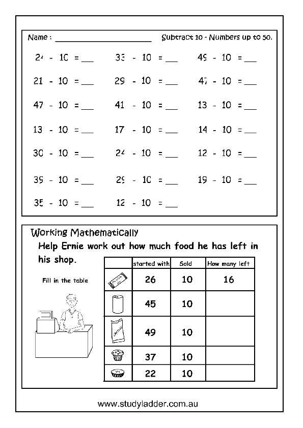 Subtract 10 From Numbers Mathematics Skills Online Interactive Activity Lessons: 10 More 10 Less Worksheet Ks1 At Alzheimers-prions.com