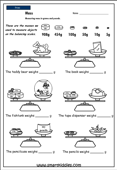 Measuring Mass In Pounds And Grams 4342 on First Grade Length Worksheets