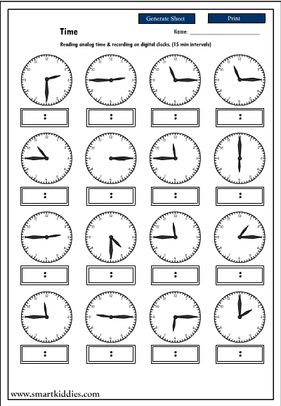 Recording digital time after reading an analog clock, Mathematics skills online, interactive ...