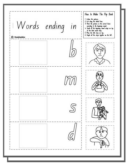 Make a Flip Book: Word Family 'ad', English skills online ...