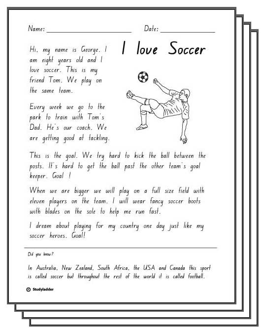 I Love Soccer -Activity Sheets - Studyladder Interactive Learning Games
