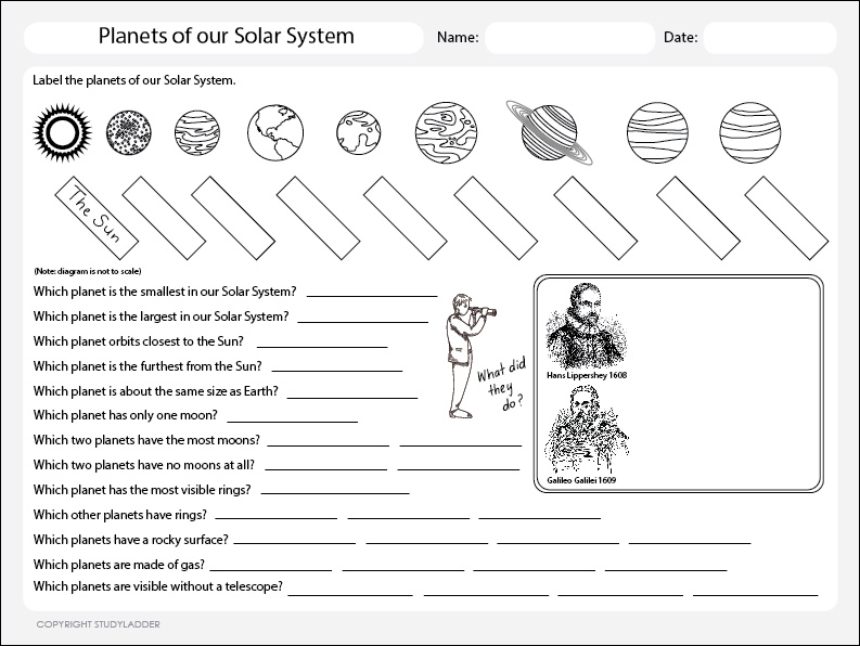 Planets of The Solar System Worksheet, Theme Based Learning skills ...