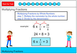 Multiplying Fractions - A Fraction by a Whole Number