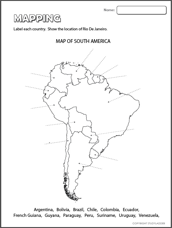 south america map activity 2016 Map Of South America Studyladder Interactive Learning Games