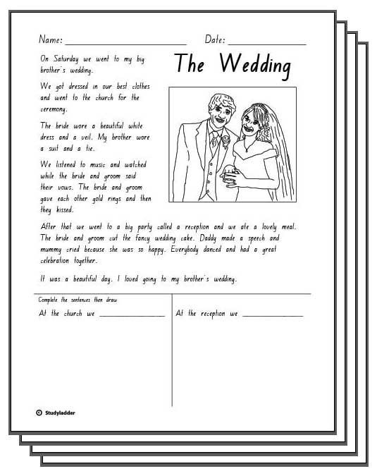 The Wedding - Reading Response Activity Sheets - Studyladder ...