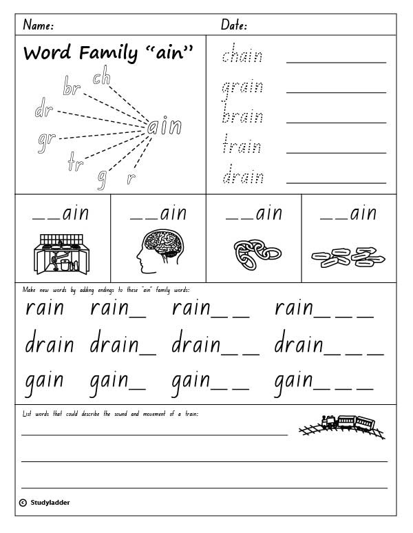 word family ain english skills online interactive activity lessons &