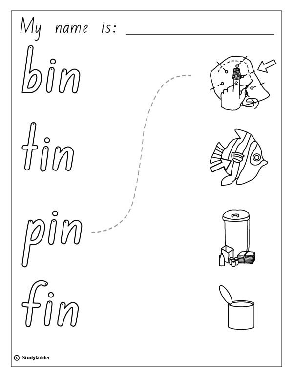 Words and Pictures: bin, fin, tin, pin, English skills online ...