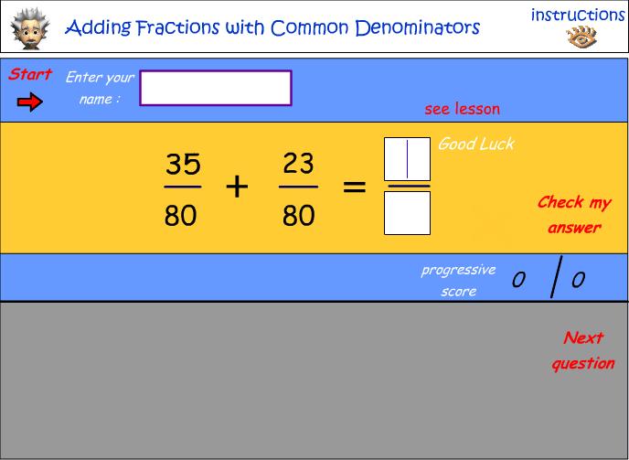 Adding fraction with common denominators