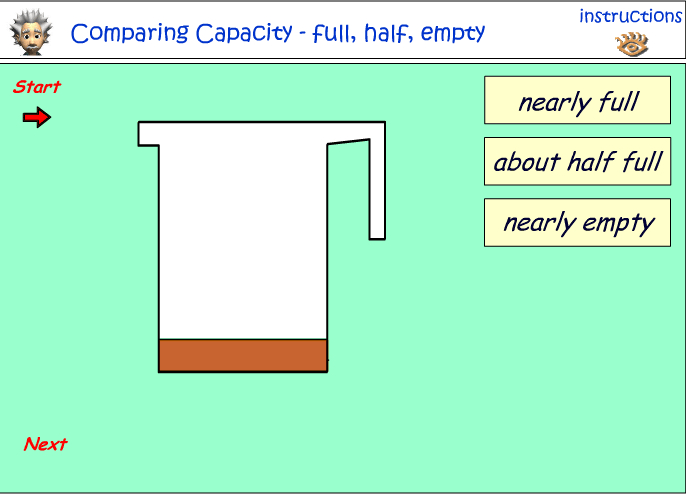 Comparing capacity - full, half or empty