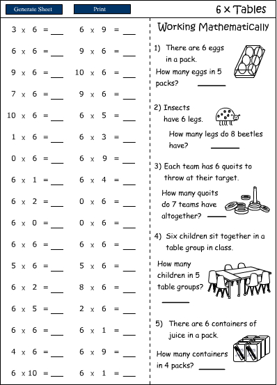 Times Tables Practice Sheets Ks2 - K5 Learning Worksheets