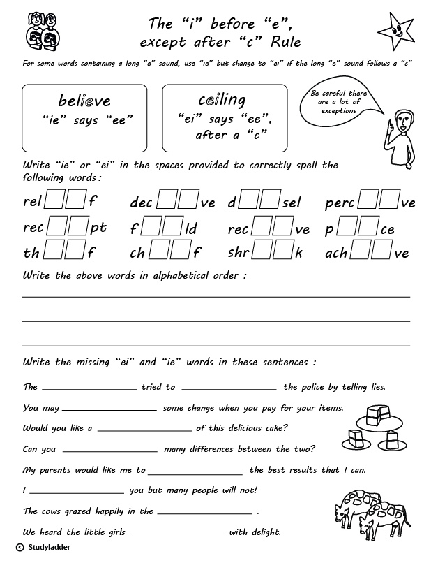 Rule 'i' Before 'e' Except After 'c' English Skills Online. Rule 'i' Before 'e' Except After 'c' English Skills Online Interactive Activity Lessons. Worksheet. Year 5 English Spelling Worksheets At Clickcart.co