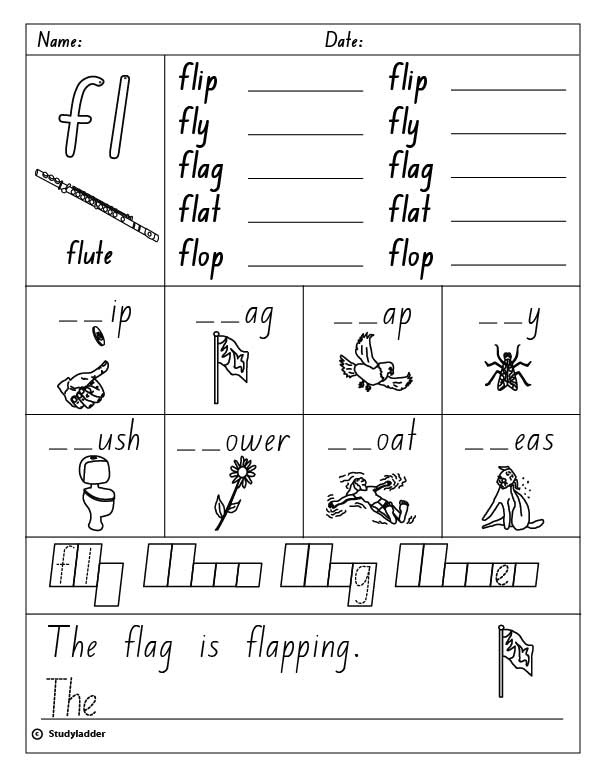 "FL+Blends+Worksheets Consonant Blend ""fl"" (Words beginning with ""fl"")"