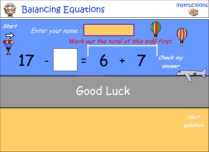 Balancing equations - number relationships