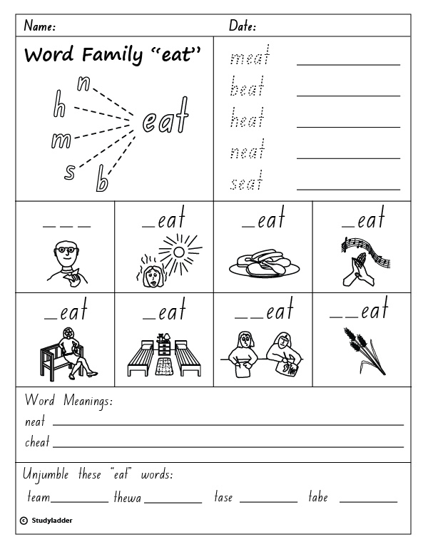 Word Family Eat English Skills Online Interactive Activity Lessons