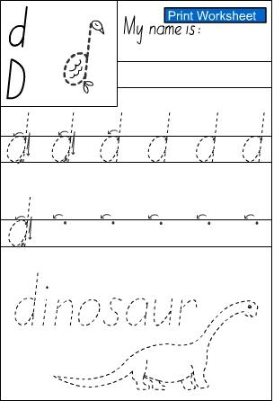 letter d -Handwriting Sheet, English skills online, interactive ...