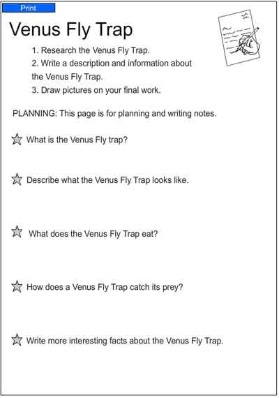 Venus Fly Trap English Skills Online Interactive Activity Lessons