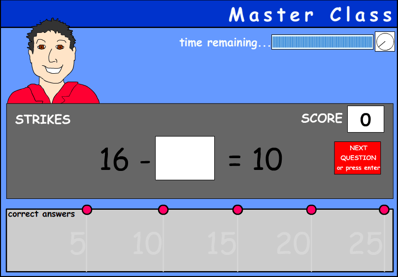 Subtraction with a missing number - numbers under 20