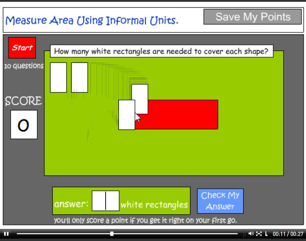 Measuring area using informal units tutorial