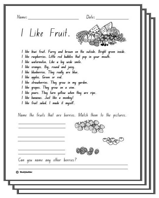 I Like Fruit - Reading Response Activity Sheets ...