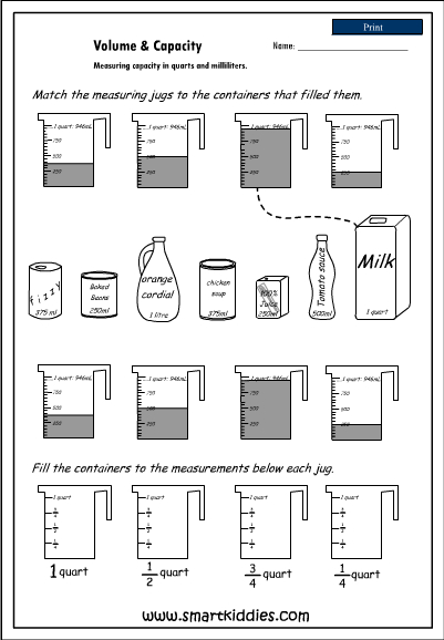 Measuring capacity in quarts and milliliters, Mathematics skills ...